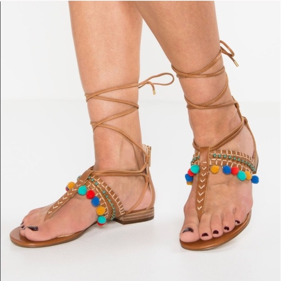 baefafd44767 NIB Vince Camuto Balisa Pom Leather Sandals